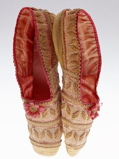 Shoes 1830    A dainty pair of shoes elaborately created with plaited straw, ribbon trim.