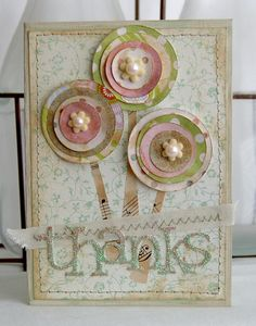 Simple circles become great flowers when you use colorful paper on this handmade Thank You card.