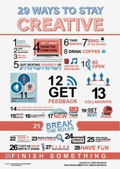 29 ways to stay #creative 1) Make lists :) 2) Carry a notebook everywhere 3) Try free writing 4) Get away from the computer  5) Quit beating yourself up 6) Take breaks  ...read them all on the poster...  List by: http://paulzii.tumblr.com/post/3360025995 Icons by: http://www.vecteezy.com/ Assembled by: https://twitter.com/islamabudaoud