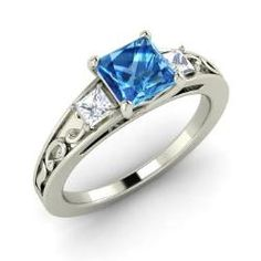Princess-Cut Blue Topaz Engagement Ring in 14k White Gold with VS Diamond