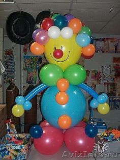 Balloons Clown Balloons, Big Balloons, Baby Shower Balloons, Birthday Balloons, 2nd Birthday Party Themes, Circus Birthday, Ballon Decorations, Birthday Decorations, Balloon Columns