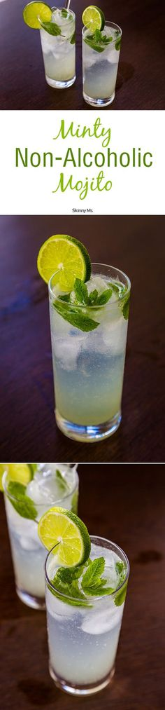 Minty Non-Alcoholic Mojitos are the perfect drink for kicking back and cooling off! (Christmas Drinks Nonalcoholic)