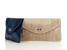 Snakeskin Embossed Leather Clutch