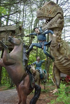( Virginia) The Dinosaur Kingdom is located in Natural Bridge - not in VB. Alternate History Theme Park Where Dinosaurs Fought in the Civil War is located in Natural Bridge, VA Abandoned Amusement Parks, Abandoned Places, Dinosaur Fight, Dinosaur History, Virginia Vacation, Virginia Is For Lovers, Alternate History, Roadside Attractions, Adventure Is Out There