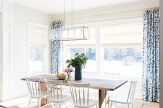 Kitchen table in front of large windows