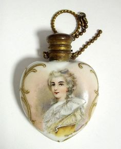 Heart-shaped antique Marie Antoinette perfume bottle, perhaps like one she may have owned? Versailles, Antique Perfume Bottles, Vintage Bottles, Marie Antoinette, Beautiful Perfume, Bottle Vase, Louis Xvi, Antique Glass, Biscuit