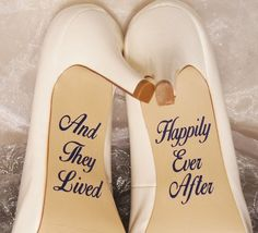 And They Lived Happily Ever After Wedding Shoe Decals, High Heel Decals, Wedding…