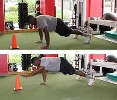 Total-Body Football Workout: Start in plank position with a wide foot placement, just within reaching distance of a cone. Stabilize and engage your core, then reach out overhead with one arm to touch the top of the cone, all while keeping your body in a straight line and being sure not to let your hips or shoulders dip. #SelfMagazine