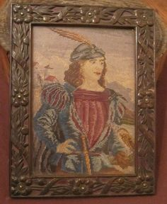 antique 1700's hand made embroidered figural needlepoint tapestry bronze frame | eBay