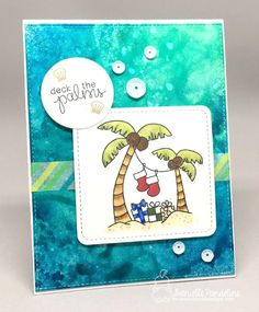 Palm Tree Christmas Card by Danielle Pandeline | Sun Soaked Christmas Stamp set by Newton's Nook Designs #newtonsnook