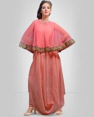 1. Peach and pink net Georgette kurti 2. comes with matching inner 3. Length of kurti 48 to 54 inches