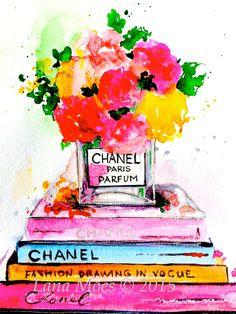 Fashion Love Art Print from Original Watercolor by LanasArt