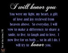 I will honor you in all I do.