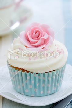Photo about Cupcakes decorated with pink sugar roses. Image of iced, cupcakes, cake - 12961142 Cupcake Kunst, Cupcake Art, Rose Cupcake, Cupcake Cakes, Cup Cakes, Vintage Cupcake, Cupcake Toppers, Cupcake Liners, Pretty Cupcakes