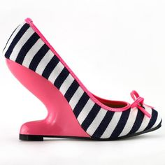 Show Story White Black Stripe Canvas Bow Curved Heel Less High Heels Pink Wedge Pumps,LF30202HP41,9US,Pink