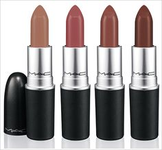 MAC Middle Eastern Lipsticks - Shade Extensions. Yash - Deep neutral Mehr - Dirty blue pink Double Shot - Full bodied mocha cream  Tabla - Chocolate brown