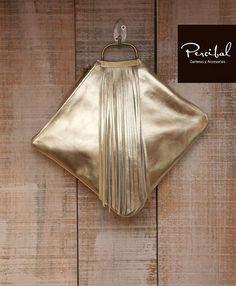 Gold fringes clutch evening purse gold leather purse от Percibal