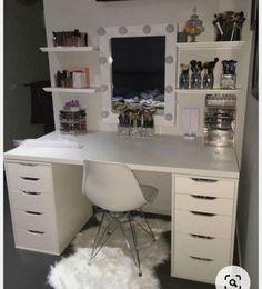 Cute Room Ideas, Cute Room Decor, Room Ideas Bedroom, Bedroom Decor, Bedroom Storage, Vanity Room, Closet Vanity, Mirror Room, Glam Room