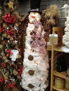 Snowman Christmas tree. a tomato cage tomato cage with either fabric netting or wide ribbon wrapped around it. You have to add the lights first though..... Just use your own judgement...I would use pine cones for the buttons.