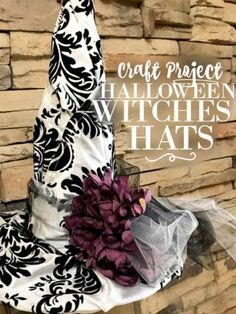 The BEST Witch Hat Tutorial. Make your own paper and fabric Witch Hat decorations for Halloween. Complete with the witches theme ideas with links. Halloween Labels, Halloween Projects, Diy Halloween Decorations, Halloween Ideas, Diy Projects, First Halloween, Holidays Halloween, Scary Halloween, Halloween Movies