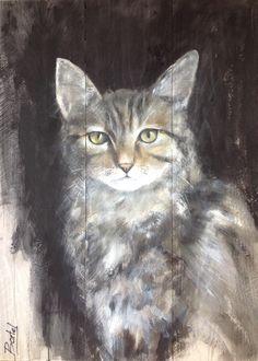 Schilderij van kat op steigerhout. Painting of cat on wood 60/80 cm