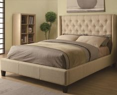 Upholstered Beds Queen Tan Upholstered Bed with Button Tufting by Coaster - Coaster - Upholstered Bed