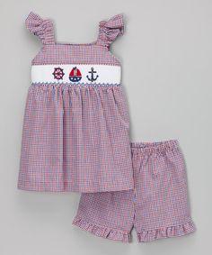 Look at this #zulilyfind! Red Nautical Smocked Top & Shorts - Infant, Toddler & Girls #zulilyfinds