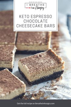 These Keto Espresso Chocolate Cheesecake Bars boast a decadent chocolate cookie crust, topped with a creamy espresso cheesecake layer and a dusting of cocoa powder - low carb, grain free, gluten free. Low Carb Cheesecake, Chocolate Cheesecake, Cheesecake Bars, Cheesecake Recipes, Chocolate Chip Cookies, Gluten Free Cheesecake Crust, Raspberry Cheesecake, Chocolate Recipes, Desserts Keto