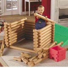 Life size Lincoln Logs made out of pool noodles. 15 pool noodles from the dollar store, cut in half, cut notches out easily, with scissors = hours and hours of fun playtime