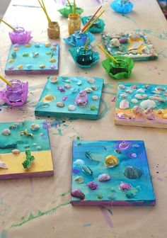 Seashell collages by kids, using tacky glue and liquid watercolor. Seashell collages by kids, using tacky glue and liquid watercolor. Summer Crafts For Kids, Projects For Kids, Diy For Kids, Craft Projects, Summer Camp Art, Summer Crafts For Preschoolers, Wood Projects, Summer Art Projects, Summer Kids
