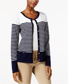 Karen Scott Petite Striped Cardigan, Created for Macy's