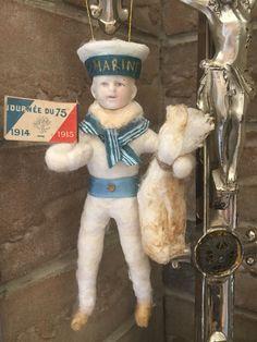 Wattefigur mit Porzellankopf,Matrose 2 für Federbaum, JDL, Shabby,Vintage | eBay