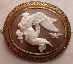 Victorian Carved Sardonyx Shell Cameo Brooch Depicting Nyx, The Goddess Of The Night, Mounted In 15k Yellow Gold   c.1860
