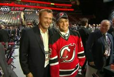 Marty Brodeur announces the Devils' last pick of the NHL Draft in the seventh round, his son Anthony. The Devils traded with the Kings to acquire the pick. #NJDevils