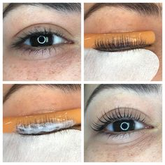 Elleebana lash lift before during and after treatment. This 30 minute process lifts your lashes to new heights with results lasting weeks! Join the lash revolution today! Elleebana Lash Lift, Eyelash Lift, Natural Lashes, Natural Curls, Lash And Brow Tint, Lift Kits, Acne Skin, Makeup Routine, Eyelash Extensions