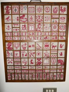 display of redwork embroideries. Letterpress Drawer, Printers Drawer, Print Box, Cubbies, Sewing Techniques, Le Point, Kids Christmas, Shadow Box, Hand Embroidery