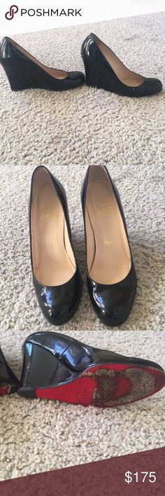 Christian Louboutin Black Leather Shoes Comfortable black leather Christian  Louboutin shoes! There's a little bit of white paint from my closet on  them, ...