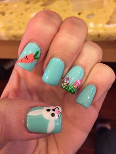 Easter is coming, and if you are looking for nail art for Easter,From cute pastel heart-shaped tips to bunny accent designs, these 20 Easter nail designs will inspire you. Easter Nail Designs, Easter Nail Art, Nail Designs Spring, Nail Art Designs, Diy Nails, Cute Nails, Pretty Nails, Do It Yourself Nails, Bunny Nails