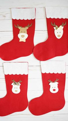2 x FELT Christmas STOCKING 30 CM RED STOCKINGS GIFTS SANTA PETS