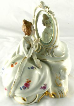 Painted Porcelain Victorian LADY and MIRROR Vanity Dresser vintage Trinket BOX