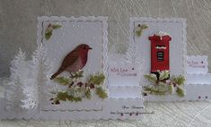 Good morning friends and visitors.Chilly frosty start this morning.Two Christmas cards for my box. hope I& not rushing making Christmas cards this year, mind it& not the maki Chrismas Cards, Christmas Cards To Make, Vintage Christmas Cards, Xmas Cards, Handmade Christmas, Christmas Crafts, Christmas Ornament, Stepper Cards, Tattered Lace Cards