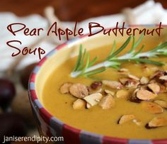 pear apple butternut soup - I hope this really is close to Blue Lemon's Butternut Soup because it was sooo good!
