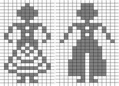 Borduurpatroon. Stel. Paartje. Couple. MR Fair Isle Knitting Patterns, Knitting Charts, Baby Knitting, Mini Cross Stitch, Cross Stitch Borders, Cross Stitch Patterns, Graph Design, Chart Design, Crochet Chart