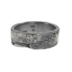 TRDR203-PD-BLK: Palladium, patina sterling silver, and black diamond band, finger size 8.5 Diamond: 12 black diamonds, weigh 0.36 carat total Other sizes available call for details on special orders
