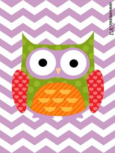 Purple Chevron Owl Nursery Print 8X10 Art Print by annadesignco, $10.00