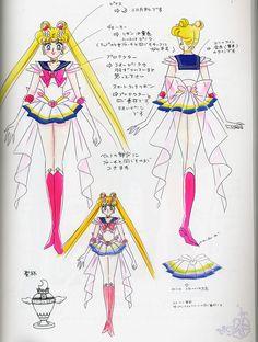 """スーパーセーラームーンのキャラクターデザイン character design sheet for Super Sailor Moon from """"Sailor Moon"""" series by Naoko Takeuchi"""