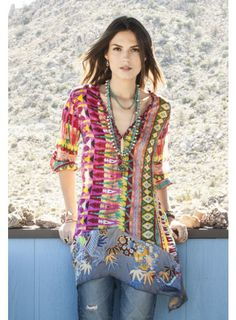 Do we love this or hate this? It is Johnny Was and I was thinkin' i really like it. Kamelia Blouse www.grandonoak.com