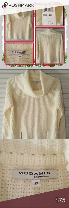"""❤ NWT Woman's Cowl Neck Sweater Size 2X ❤ Brand New Woman's White Cowl Neck Sweater Size 2X. This Sweater Has A Cowl Neck And Zipper Design On The Front Each Side. I Would Say This Is Approximately 25"""" Inches Long It Fits Small More Like A 1X Or Smaller In My Opinion Great For Fall And Winter 🚫 PAYPAL 🚫 TRADES 🚫 OFFERS PRICE IS FIRM ❤ Modamix Sweaters Cowl & Turtlenecks"""