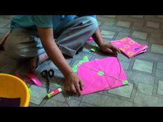 How to make Tibetan fighter kite.  Un barrilete de combate Tibetano, en papel