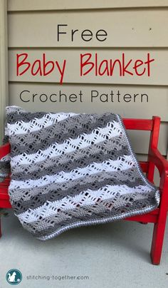 Make this beautiful, gender neutral, modern crochet baby blanket. Free Crochet Pattern by Stitching Together